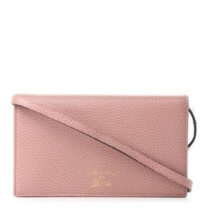 Gucci Mini Swing Textured Wallet Soft Pink Leather